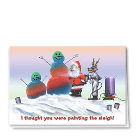 Personalized Deluxe Full-Color Automotive Holiday Cards - Snowmen Painting