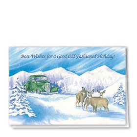 Personalized Deluxe Full-Color Automotive Holiday Cards - Winter Scene Oldie