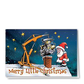 Personalized Deluxe Full-Color Automotive Holiday Cards - Santa's Dilemma