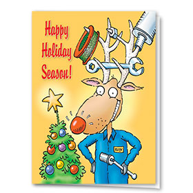 Personalized Deluxe Full-Color Automotive Holiday Cards - Happy Repairs