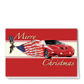Personalized Deluxe Full-Color Automotive Holiday Cards - American Pride