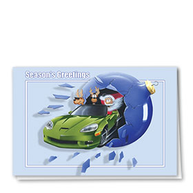 Personalized Deluxe Full-Color Automotive Holiday Cards - Santa Sports Car