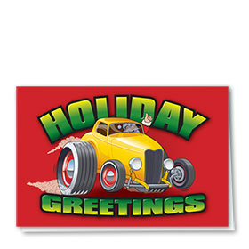 Personalized Deluxe Full-Color Automotive Holiday Cards - Holiday Burnout