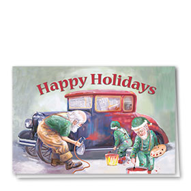 Personalized Deluxe Full-Color Automotive Holiday Cards - Santa's Paint Job