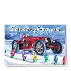 Personalized Deluxe Full-Color Automotive Holiday Cards - Lighted Raceway