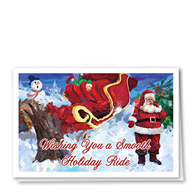 Personalized Deluxe Full-Color Auto Holiday Cards - Sled Collision