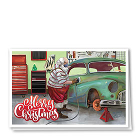 Personalized Deluxe Full Color Holiday Card - Santa's Restoration