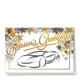 Personalized Deluxe Full Color Holiday Card - Golden Greetings