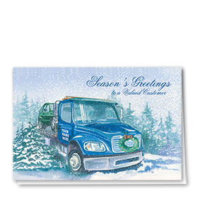 Double Personalized Full Color Holiday Card-Holiday Tow Truck