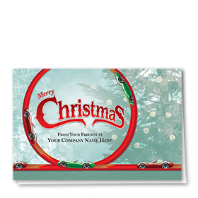 Double Personalized Full Color Holiday Card-Christmas Car Loop
