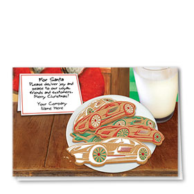Double Personalized Full-Color Auto Holiday Cards - Cookies for Santa