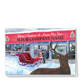 Double Personalized Full-Color Auto Holiday Cards - Christmas Onlooker