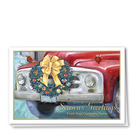 Double Personalized Full-Color Auto Holiday Cards - Timeless Wreath