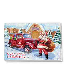 Double Personalized Full-Color Auto Holiday Cards - Santas Keepsake