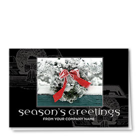 Double Personalized Full Color Holiday Card-Frosted and Festive