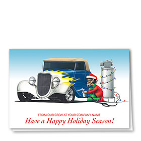 Double Personalized Full-Color Auto Holiday Cards - Indigo Flames