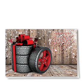 Double Personalized Full-Color Auto Holiday Cards - Winter Wheels