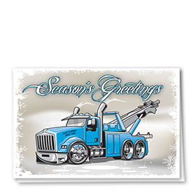 Double Personalized Full Color Holiday Card-Frosty Towing