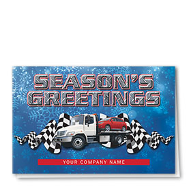 Double Personalized Full Color Holiday Card- Snowflake Towing