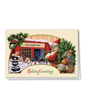 Double Personalized Full Color Holiday Card-Santa's Journey