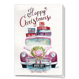 Double Personalized Full Color Holiday Card-Christmas Travel