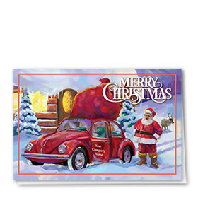 Double Personalized Full Color Holiday Card-Christmas Sled