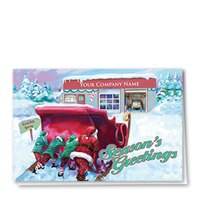 Double Personalized Full Color Holiday Card-Garage Repair