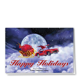 Double Personalized Full Color Holiday Card-Vintage Flight