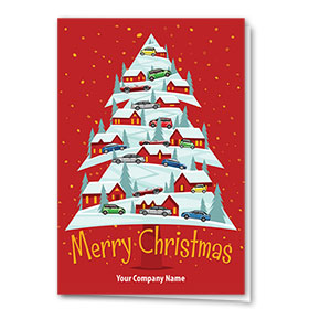 Double Personalized Full Color Holiday Card- Christmas Climb