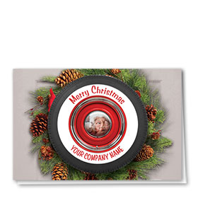 Double Personalized Full-Color Auto Holiday Cards - Wreath Reflection