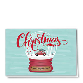 Double Personalized Full-Color Auto Holiday Cards - Christmas Globe
