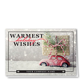 Double Personalized Full-Color Auto Holiday Cards - Snowflurry Wish