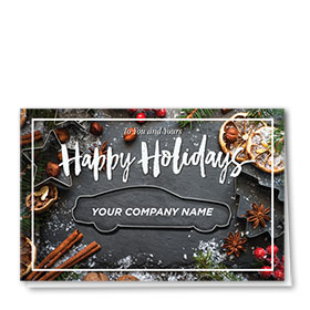 Double Personalized Full-Color Auto Holiday Cards - Cinnamon and Spice
