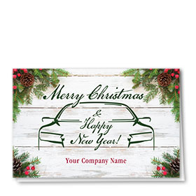 Double Personalized Full-Color Auto Holiday Cards - Wooden Pine