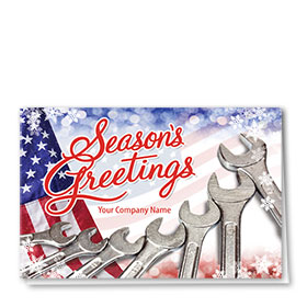 Double Personalized Full Color Holiday Card- Freedom Wrench