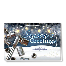 Double Personalized Full Color Holiday Card- Starlight Tools