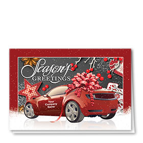 Double Personalized Full Color Holiday Card- Gingham Berries
