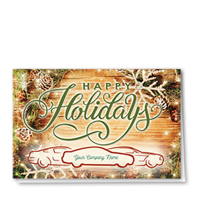 Double Personalized Full Color Holiday Card- Rustic Pine