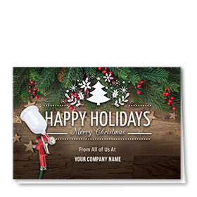 Double Personalized Full Color Holiday Card- Wooden Stars