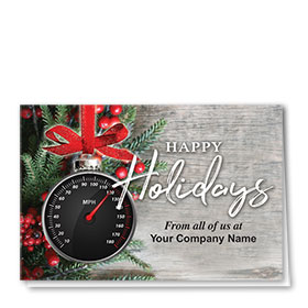 Double Personalized Full Color Holiday Card- Holiday Speedometer