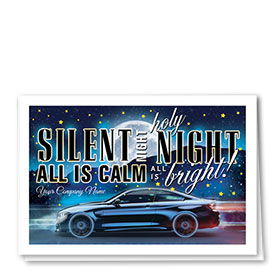 Double Personalized Full Color Holiday Card- Silent Night Auto