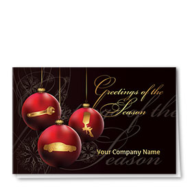 Double Personalized Full Color Holiday Card- Crimson Ornaments