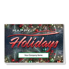 Double Personalized Full Color Holiday Card- Festive Silhouette