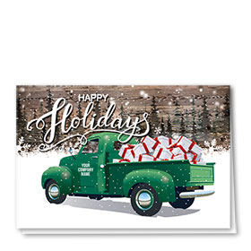 Double Personalized Full Color Holiday Card- Presents For All