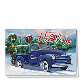 Double Personalized Full Color Holiday Card- Tree Farm