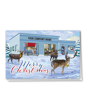 Double Personalized Full Color Holiday Card- Sleigh Service