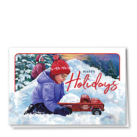 Double Personalized Full Color Holiday Card- Snow Hill