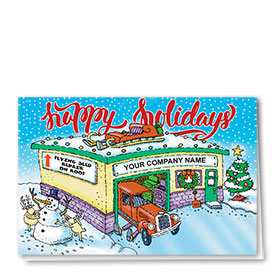 Double Personalized Full Color Holiday Card- Rooftop Repair