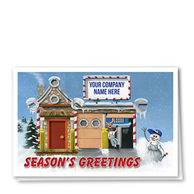 Double Personalized Full Color Holiday Card- Snowman Auto