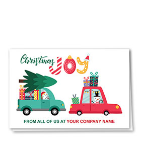 Double Personalized Full Color Holiday Card- Christmas Joy